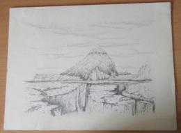 Dessin à La Mine Sur Papier Canson Réprésentant Un Volcan (?) Signé GOBBINGS (?) Et Daté Du 12 IV 85 - Drawings