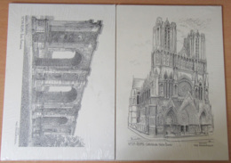 Lot De 2 Gravures : Cathédrale De Reims Et Porte Romaine N°511 Et 514 - Signées Yves Ducourtioux - Neuves Sous Blister - Estampes & Gravures