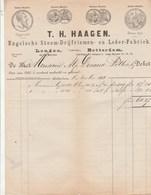 Pays Bas Facture Illustrée 8/11/1888 T H HAAGEN Engelsche Stoom Drijfriemen En Leder Fabriek ROTTERDAM Courroie Cuir - Paesi Bassi