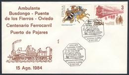 Spain Espana 1984 Cover Brief Envelope - Cent. Ferrocarril Puerto De Pajares : Busdongo, Puente De Los Fierros, Oviedo - Treinen