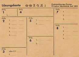 GERMANIA - 867  HOF  1967    - SCHAFT - SZACHOWY - SCACCHI -  CHESS - - Scacchi