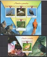 SS803 2015 GUINE GUINEA-BISSAU FAUNA BIRDS PIGEONS POMBOS E POMBAS 1KB+1BL MNH - Oiseaux
