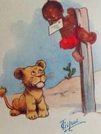 Cpa ILLUSTRATEUR ENFANT NOIR POURSUIVI PAR JEUNE LION . BLACK BOY : Just Caught The Post    A/s T.GILSON OLD PC COMIC - Cartes Humoristiques