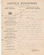 Pays Bas Facture Lettre 2/8/1899 Arnold BONHOMME Navigation à Vapeur Transports Maritimes MAESTRICHT  Liège Belgique - Pays-Bas