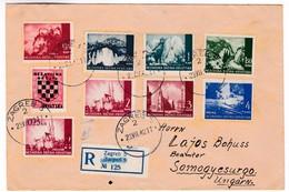 M467 Croatia Lettre Recommandée 1942 Registered Letter Zagreb To Hungary - Croatie