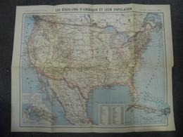 Carte De 1918 Des Etats Unis D'Amérique (USA) Population Par Etat @ Mexique Canada Québec Cuba Et Canal Du Panama - Cartes Géographiques
