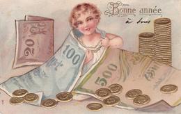 CPA Gaufrée Bébé Baby Billet De Banque Banknote Pièce De Monnaie Money Coin Embossed Illustrateur  (2 Scans) - Coins (pictures)