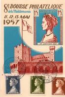 Monaco 1957 - Carte Maximum 8ème Bourse Philatélique De La Méditerranée Princesse Grace - Cartoline Maximum