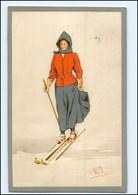 U5655/ Pellegrini Künstler Litho AK  Frau Fährt Ski 1912 - Künstlerkarten