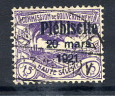 UPPER SILESIA 1921 Plebiscite Overprint On 15 Pfg. Used, Signed Weinberg BPP.  Michel 31 - Deutschland