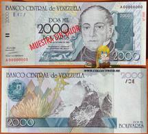 Venezuela 2000 Bolivares 1998 UNC Specimen P-80s - Venezuela