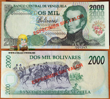 Venezuela 2000 Bolivares 1998 UNC Specimen P-77bs - Venezuela