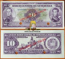 Venezuela 10 Bolivares 5 Mar. 1968 UNC Specimen Without Date And Signatures P-45es - Venezuela
