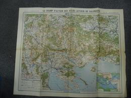 Carte De 1916 De SALONIQUE Et MACEDOINE @ GUERRE 1914 - 1916 Alliés Près De Thessalonique (GRECE) Serbie Bulgarie - Cartes Géographiques