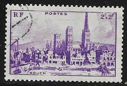 TIMBRE N° 745  -   VILLE DETRUITE ROUEN    - OBLITERE  -  1945 - Usados