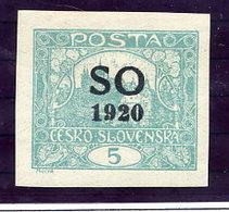 EAST SILESIA Overprint On 5 H. Imperforate LHM / *, Signed Karasik.  Michel 3A - Czechoslovakia