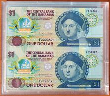 Bahamas 1 Dollar 1992 UNC Uncut Sheet In Plastic Case P-50 - Bahamas