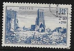 TIMBRE N° 746  -    VILLE DETRUITE CAEN   - OBLITERE  -  1945 - Usados