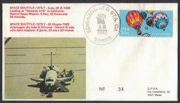 YN174  Commemorative Envelope USA 1983 ( Edwards ) - (STS-7) Landing Challenger Space Shuttle - FDC & Commemoratives