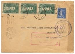 13/09/1938 Jean De La Fontaine (397) Bande De 3 + 10c Tarif 1,75c 1/8/37 Au 30/11/38 2 Censures Militar San Sebastian - Postmark Collection (Covers)