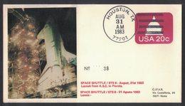 YN175  Commemorative Envelope USA 1983 ( Houston ) - (STS-8) Launch Challenger Space Shuttle - FDC & Commemorrativi