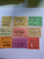 Italy  1920-1945 9 Biglietti De Ingreso Al Cinema Tutte Con Data Alcuni Con Título De Filme Al Reverso Génova TorinoRoma - Altre Collezioni