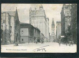 CPA - Broad Street North From Spruce, PHILADELPHIA, Animé  (dos Non Divisé) - Philadelphia