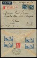 LUXEMBOURG. 1937 (3 Sept). Redange - S - Attert - Brazil / Sahara. Reg Air Fkd Env (3 Fr 50c) + French Stamps (8,50 Fr) - Luxembourg