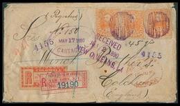 COLOMBIA. 1890. Cartagena - UK. Reg Multifkd Env. 10c X3 + R. Label 20c. 5 Reg Marks. Violet Cachet Colombia. - Colombia