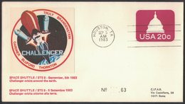YN176  Commemorative Envelope USA 1983 ( Houston ) - (STS-8) Challenger Space Shuttle In Orbit Around The Earth - FDC & Commemoratives