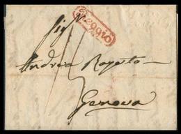 "ITALIAN STATES - Napoli. 1833 (9 March). E From Reggio (Napoli) To Genova (Liguria) Bearing Manuscript ""15"" Postal Rate, - Italy"