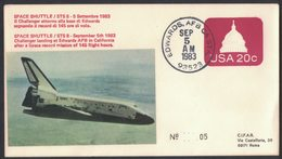 YN177  Commemorative Envelope USA 1983 ( Edwards ) - (STS-8) Landing Edwards Based Challenger Space Shuttle - FDC & Commemorrativi