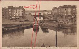 Antwerpen Anvers Zuid Ingang Der Zuiderdokken L' Entree Des Bassins Du Sud (beschadigd) Binnenschip Peniche Barge - Antwerpen
