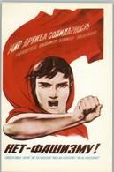 NO TO FASCISM! Woman Peace Propaganda Soviet USSR Postcard - Patriottiche