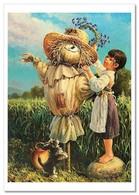 KIDS ART ~ LITTLE GIRL Dog PUPPY Scarecrow Field By Leonovich Modern Postcard - Bambini