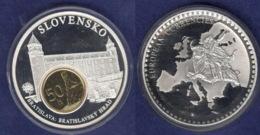 Medaille 2003 Das Geld Europas, Versilbert, Teilvergoldet PP 50mm - Deutschland