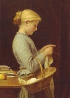 Pretty Girl Hand-knit Basket Yarn Sew By Albert Anker NEW MDRN Postcard - Enfants