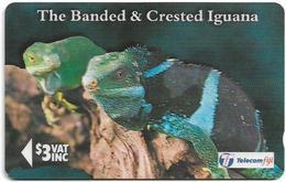 Fiji - Banded & Crested Iguana - 19FJB (Ø Crossed), 1996, Used - Fiji