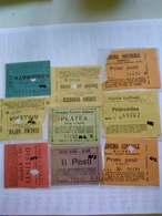Italy  1920-1945 9 Biglietti De Ingreso Al Cinema Tutte Con Data Alcuni Con Título De Filme Al Reverso Génova Milano Ven - Altre Collezioni
