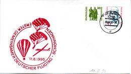 """(DDR-B3) DDR Sonderumschlag """"Erster Gemeinsamer Deutscher Flugtag Schönhagen"""", MiF DDR/BRD, TSt. 11.8.90 TREBBIN 6 - DDR"""