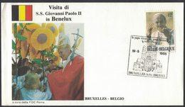 YN179     Belgium 1985 Visita Di S.S. Giovanni Paolo II  In Benelux - Bruxelles   FDC Roma - Papi