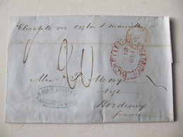 MARQUE POSTALE ,    MAURICE  Vers  BORDEAUX   1851 - Marcophilie (Lettres)