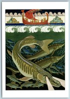Underwater Kingdom And Sailing Boat Fish Sea Bilibin Сказки Postcard - Europa