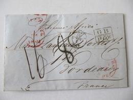 MARQUE POSTALE ,  LETTRE   NEW YORK Vers  BORDEAUX   1857 - Marcophilie (Lettres)