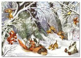 Squirrels And Chipmunk In The Forest By Zorina Baldescu Russian Modern Postcard - Animals