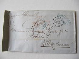 MARQUE POSTALE ,  LETTRE   BATAVIA Vers  BORDEAUX   1857 - Marcophilie (Lettres)
