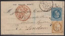 """Ballon Monté """"Le Duquesne"""" 7/JANV./1871 Dépêche-Ballon Pour Londres Angleterre - 1870 Siège De Paris"""