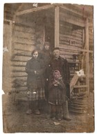 1930s Family Peasants Near Wooden House Costume Russian Cabinet Antique Photo - Photographs