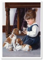 Pretty Little Girl Tea Time With Puppy Dog By Kevin Daniel NEW Modern Postcard - Kinderen