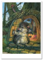 HEDGEHOG With Lamp Door To Tree House Mushroom NEW Russian Child Tale Postcard - Animals